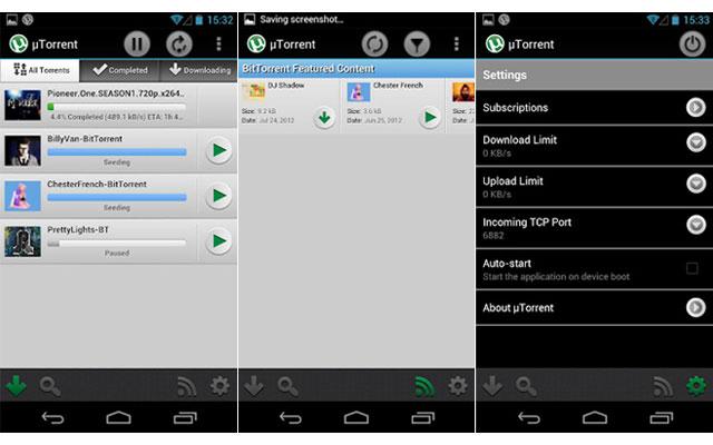 Android-версия торрент-клиента uTorrent
