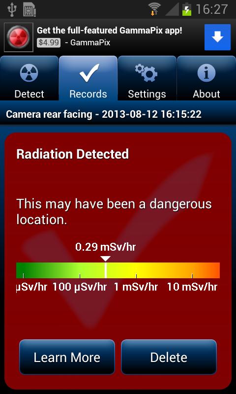 Измерение радиации через приложение смартфона