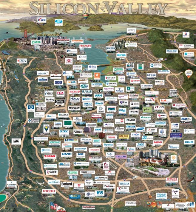 Полная карта стартапов и компаний Долины