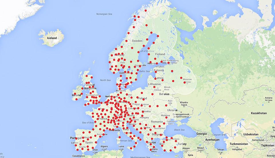 Планы по размещению зарядных станций на территории Европы