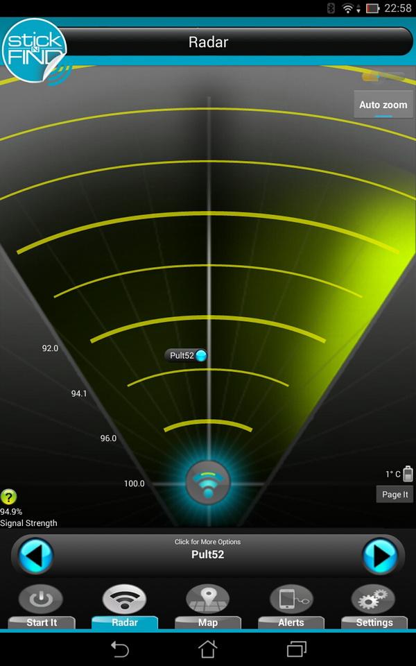 Радар показывает только примерное расстояние до маячка, которое зависит от мощности сигнала Bluetooth Справа внизу показывается температура окружающей среды и  кнопка вызова.