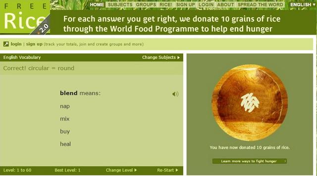 Изучайте язык и жертвуйте рис в фонд Всемирной продовольственной программы ООН