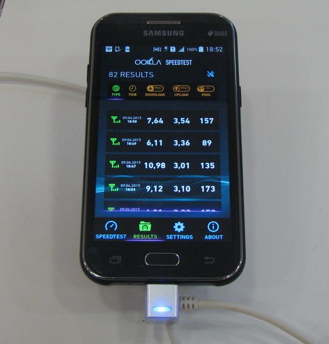 Cкорость загрузки данных на смартфоне с подключением к 3G составила от 6 до почти 11 Мбит/с