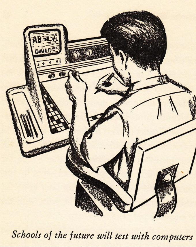 Тестирование школьников на компьютерах. Ну, где-то так оно и происходит теперь