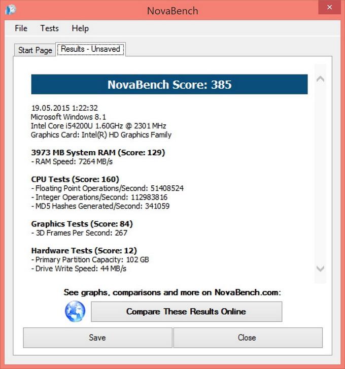 Оценка производительности с помощи утилиты NovaBench