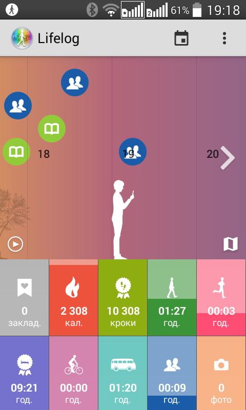 Приложение Lifelog  отслеживает все данные, сгенерированные тандемом «смартфон+браслет» и выдает на выходе детальный отчет в графическом виде