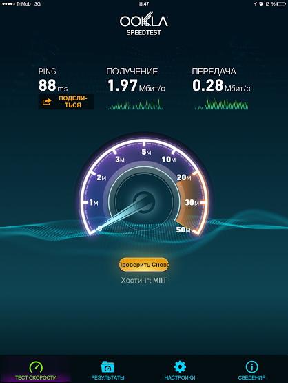 Средняя скорость загрузки данных в сетях «ТриМоб» составила 1-2 Мбит/с