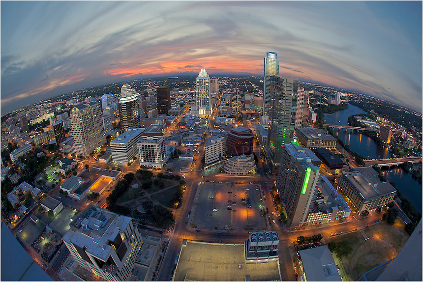 Colors-of-Downtown-Austin-Texas-through-a-Fisheye-Lens
