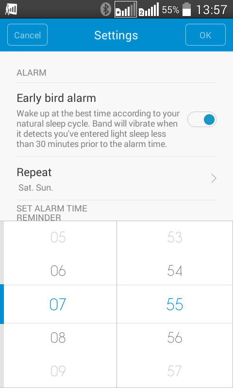 Опция «Early bird alarm» будит пользователя в момент, когда он входит в фазу легкого сна