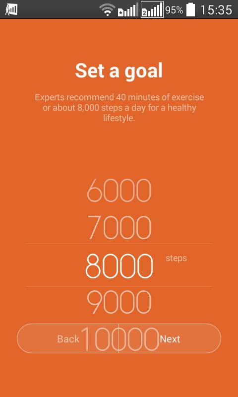При первичной настройке необходимо задать «цель» — количество шагов, которое надо сделать в течение дня