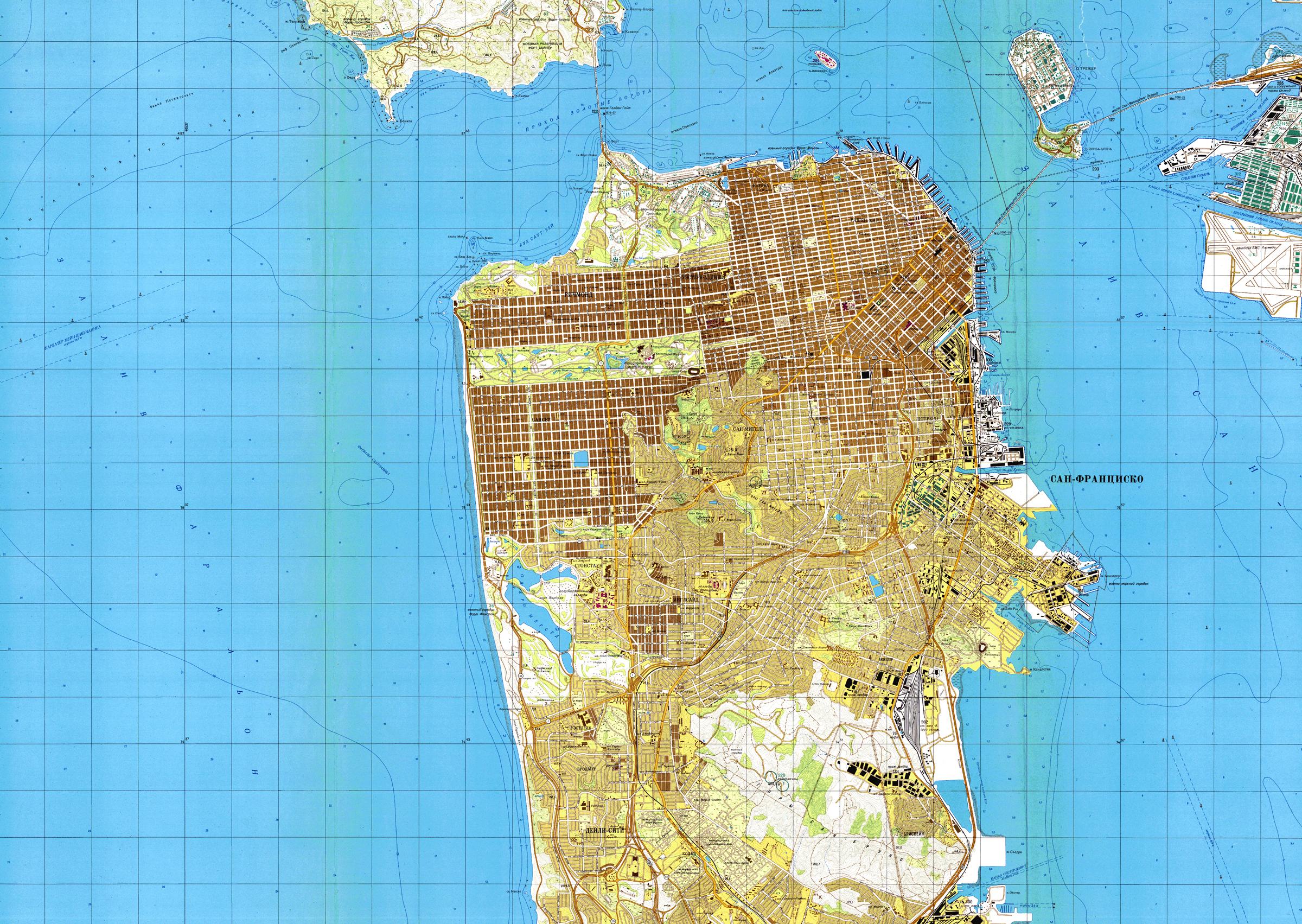 Карта Сан-Франциско, Калифорния, созданная в 1980 г. в СССР