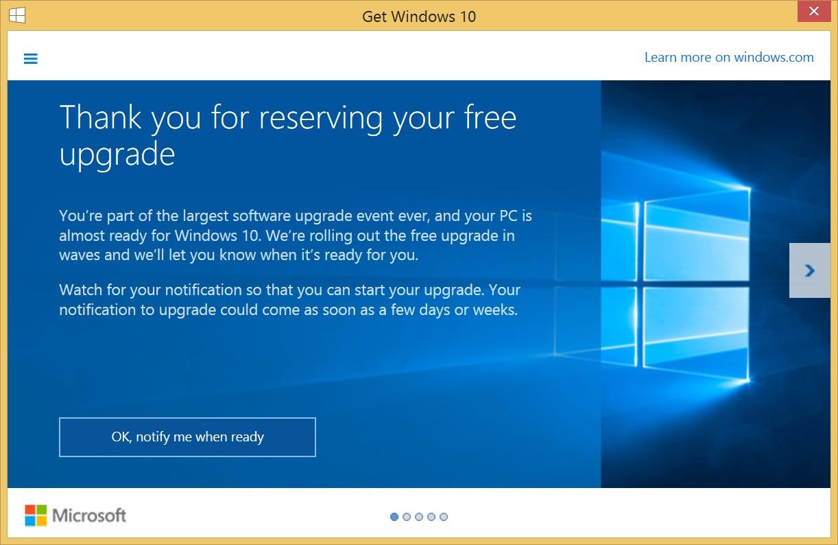 Апгрейд до Windows 10 прошёл гладко и в автоматическом режиме