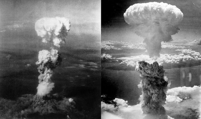 Взрывы над Хиросимой и Нагасаки с воздуха