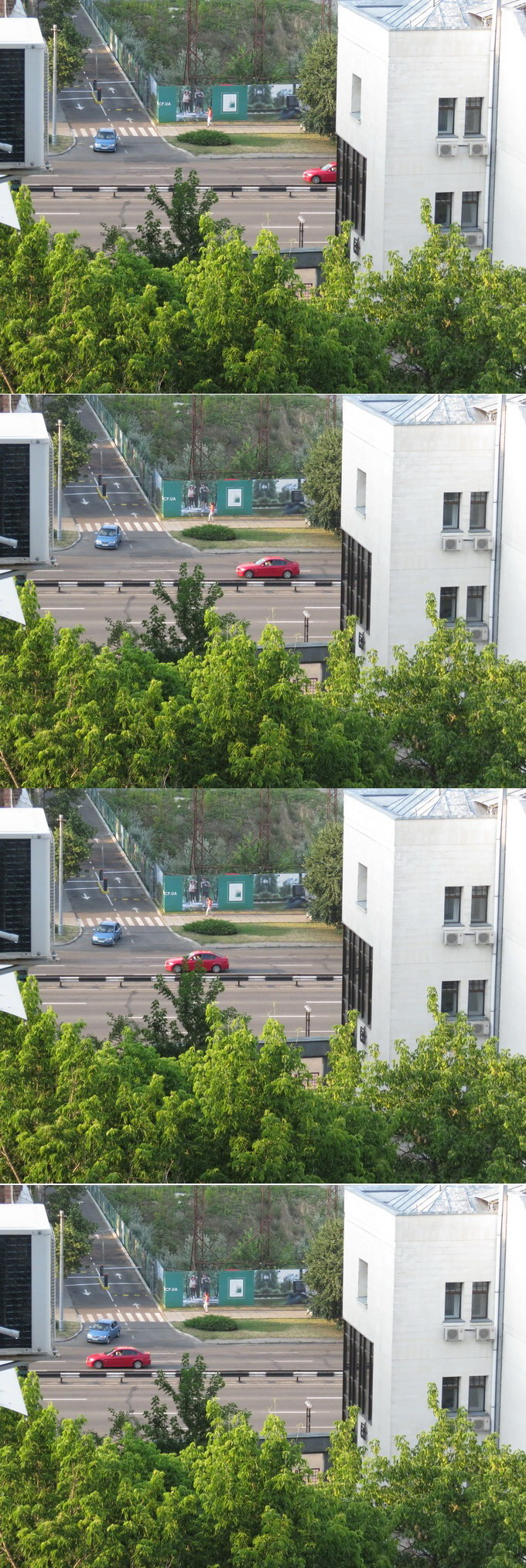 Серийная съемка с частотой 6,4 кадров в секунду позволяет выбирать самые интересные кадры при фотофиксации движущихся объектов. Красный автомобиль движется со скоростью порядка 80 км/ч, однако его изображение очень четкое