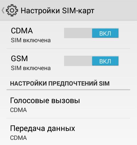 Конфигурирование RUIM и SIM-карт осуществляется с помощью меню