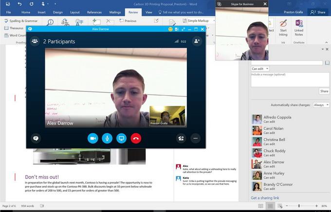 Skype теперь интегрирован прямо в пакет приложений Office