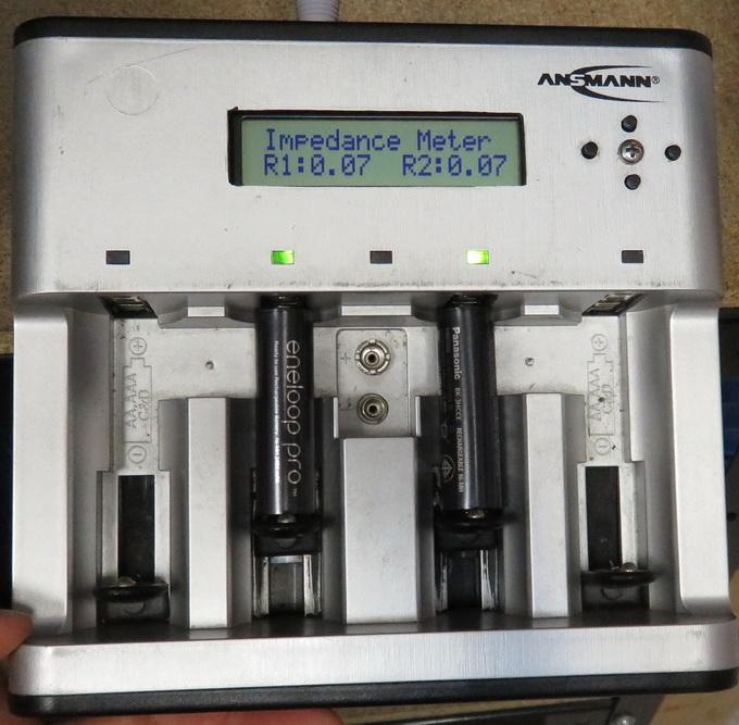 Сопротивление новых аккумуляторов Panasonic Eneloop Pro при комнатной температуре