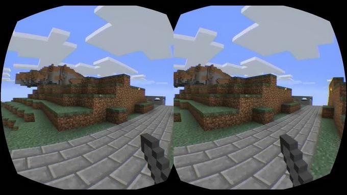 Стереоскопический эффект усилен за счет того, что поле зрения для правого и левого глаза не перекрываются на 100 %. Для левого глаза доступен небольшой дополнительный фрагмент картинки слева, для правого — справа