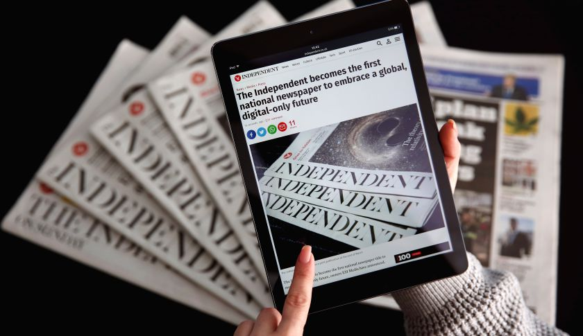 LONDON, ENGLAND - FEBRUARY 12: In this photo illustration an iPad is displayed with the Independent's online platform above a selection of the print versions of their titles on February 12, 2016. The British newspaper 'The Independent' which has been in circulation since 1986 and 'The Independent on Sunday', which has been in circulation since 1990, will move to a 'digital only' platform from March 26, 2016 the owners ESI Media said in a statement today. ESI has also reportedly confirmed it will sell the i newspaper to Johnston Press, subject to the approval of Johnston's shareholders. (Photo illustration by Dan Kitwood/Getty Images)