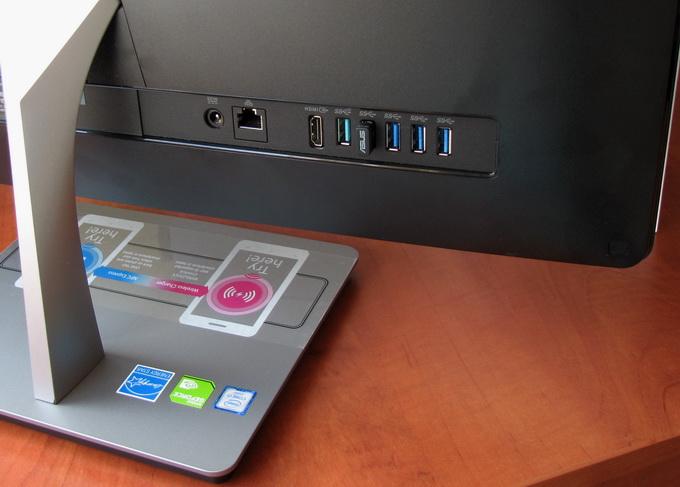 На задней панели: пять USB-портов — четыре порта USB 3.0 и один порт USB 3.1, — HDMI-порт и Ethernet-разъём