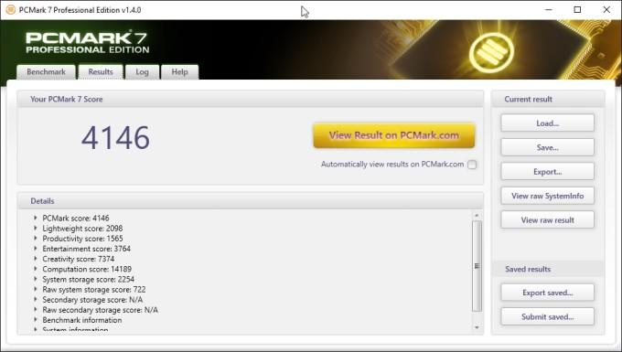 Результаты тестирования производительности устройства с помощью утилиты PCMARK 7