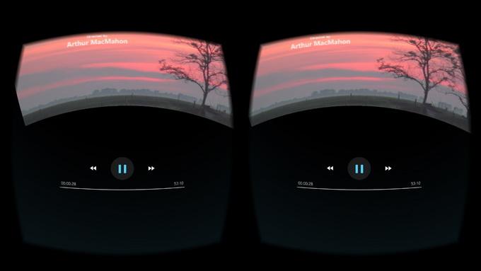 Управление в приложении MEGOGO VR : если чуть опустить голову вниз, то активируется пауза