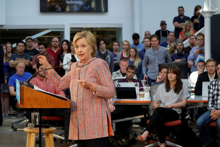 U.S. Democratic presidential candidate Hillary Clinton speaks at Galvanize, a learning community for technology, in Denver