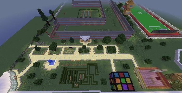 Загальний вигляд Minecraft-подвір'я школи №172, м. Київ