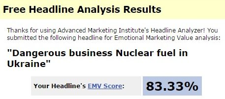 Программа оценила заглавие на 83% — это очень высокая оценка. По видимому, данный заголовок на английском звучит еще лучше, чем на русском