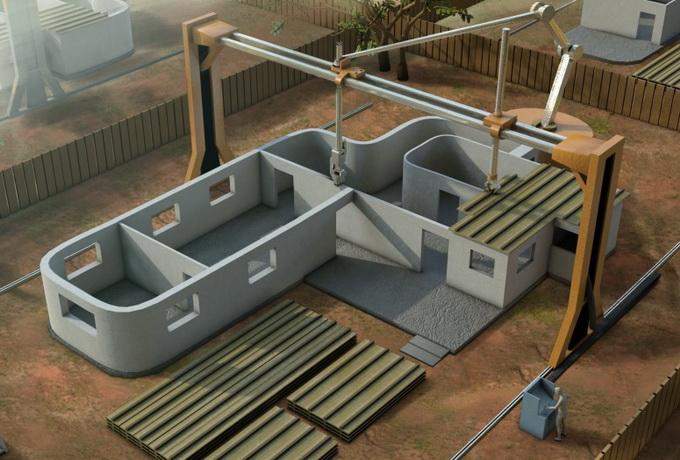 Строительство зданий из бетона с помощью 3D-принтера