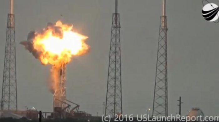 An explosion on the launch site of a SpaceX Falcon 9 rocket is shown in this still image from video in Cape Canaveral