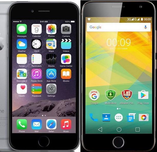 """Prestigio Grace R7 и iPhone 6 настолько похожи внешне, что при беглом осмотре это может ввести в искушение даже заядлых """"яблокоедов"""". Стоит отметить, что Grace R7 на пару миллиметров шире iPhone, зато его экран на 0,3 дюйма больше по диагонали"""