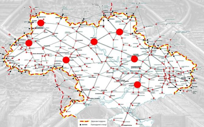 Карта вузлових залізничних станцій в Україні