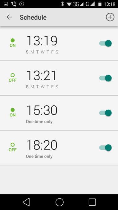 В расписание можно занести любое число команд на автоматическое и регулярное включению/выключению на каждый день недели, либо на выполнение этой процедуры только единоразово