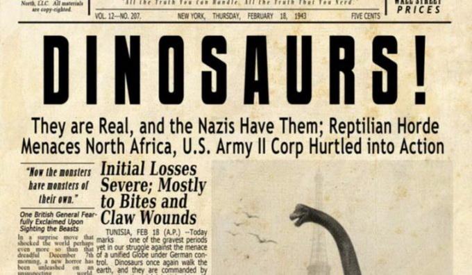 Фейковая новость в старом печатном издании от 1943 года гласит о том, что диназавры существует и что они представляют угрозу для США