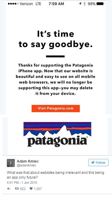 Вместо мобильного приложения компания Patagonia разработала новый веб-сайт, оптимизированный для мобильных устройств