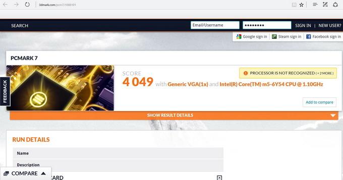 Результаты тестирования Lenovo Yoga 900S при помощи утилиты PCMARK 7