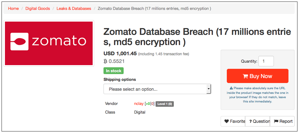 Так виглядав лот із даними Zomato в даркнеті