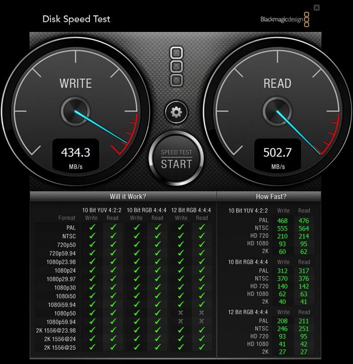 Тестирование с помощью Black Magic Disk Speed Test, размер эталонного файла 1 ГБ. Зелёными флажками указаны все режимы видеозаписи, для которых можно использовать диск WD Blue