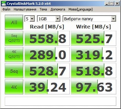 Итоги тестирования WD Blue с помощью CrystalDiskMark. Размер эталонного файла — 1 ГБ