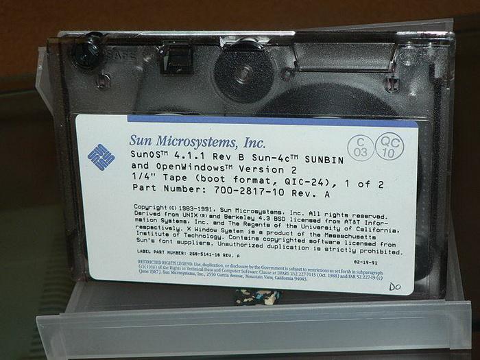 SunOS 4.1.1 на кассете с магнитной лентой