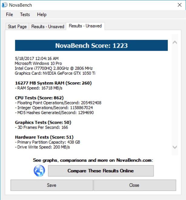 Результаты тестирования системы с помощью утилиты NovaBench