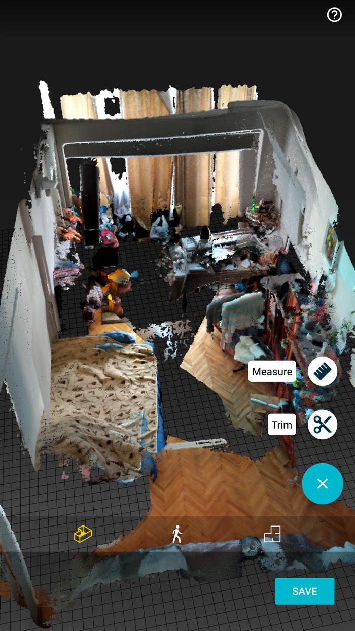 Тривимірна модель кімнати, отримана за допомогою Lenovo Phab 2 Pro. Сірі фрагменти — це невідскановані місця