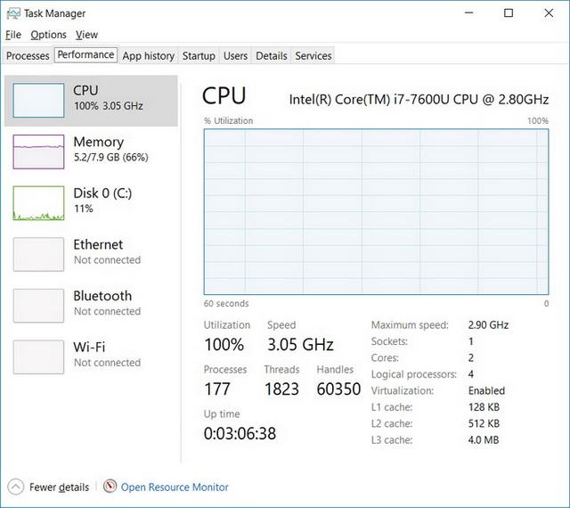 Чтобы сгенерировать 100% загрузку процессора, мы запустили непрерывное сканирование всех файлов на диске антивирусом McAfee. В этом режиме ноутбук продержался около 2,5 часов
