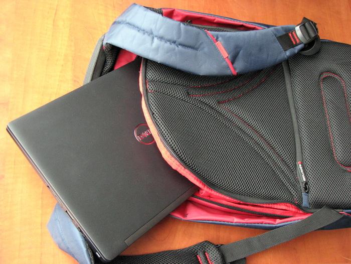 Скрытый задний карман рюкзака Promate Zest позволяет безопасно переносить лёгкий и компактный Dell Latitude 7280