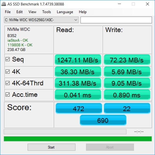 Утиліта AS SSD Benchmark: режим послідовного читання/запису; випадковий запис/читання в блоках по 4К; те ж саме, але з глибиною черги 64; час доступу в мс