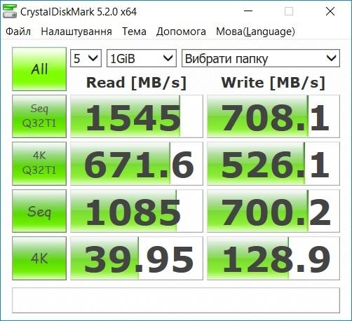 Результати тестування швидкості читання/запису WD Black PCIe за допомогою CrystalDiskMark