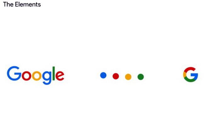 Зліва направо: логотип Google використовує шрифт Sans Serif , який фіксує відмінну мультикольорову послідовність. Крапки є квінтесенцією логотипу для інтерактивних та перехідних моментів. Літера G від Google є компактною версією логотипу Google, який працює в невеликих контекстних проектах