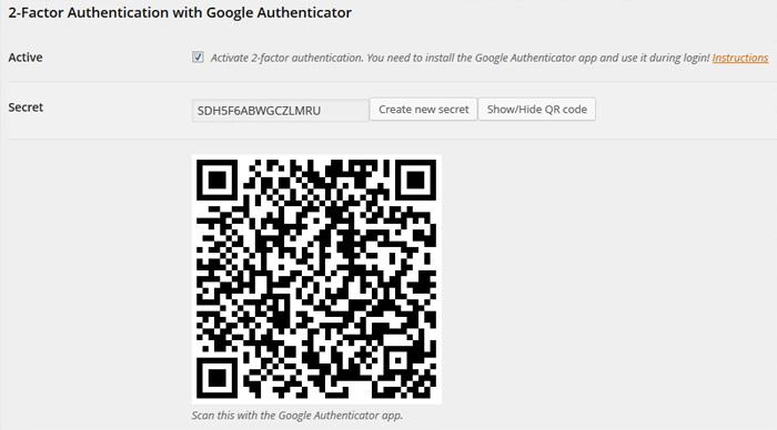 Сайт має згенерувати QR-код, що містить секретний ключ. Користувач повинен далі відсканувати цей QR-код за допомогою свого мобільного додатку на смартфоні