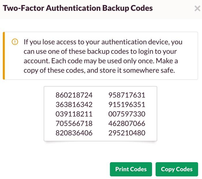 Коди резервного копіювання можна надрукувати та застосувати тоді, коли телефон не працює або ви загубили свій ключ безпеки